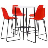 vidaXL Baro baldų komplektas, 5 dalių, raudonos spalvos, plastikas