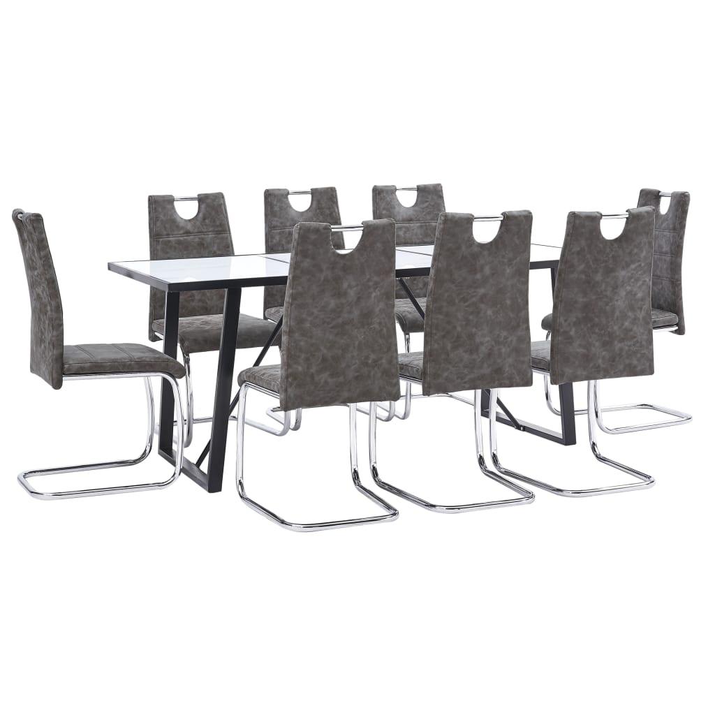 vidaXL Set mobilier de bucătărie, 9 piese, maro, piele ecologică vidaxl.ro