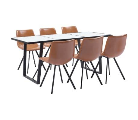 vidaXL 7 Piece Dining Set Cognac Faux Leather