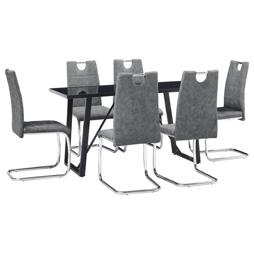 vidaXL Set mobilier de bucătărie, 7 piese, gri, piele ecologică poza vidaxl.ro