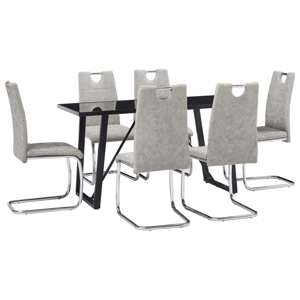 vidaXL Set mobilier bucătărie, 7 piese, gri deschis, piele ecologică vidaxl.ro