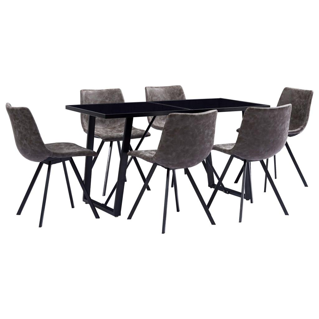 vidaXL Set de mobilier de bucătărie, 7 piese, maro, piele ecologică poza 2021 vidaXL