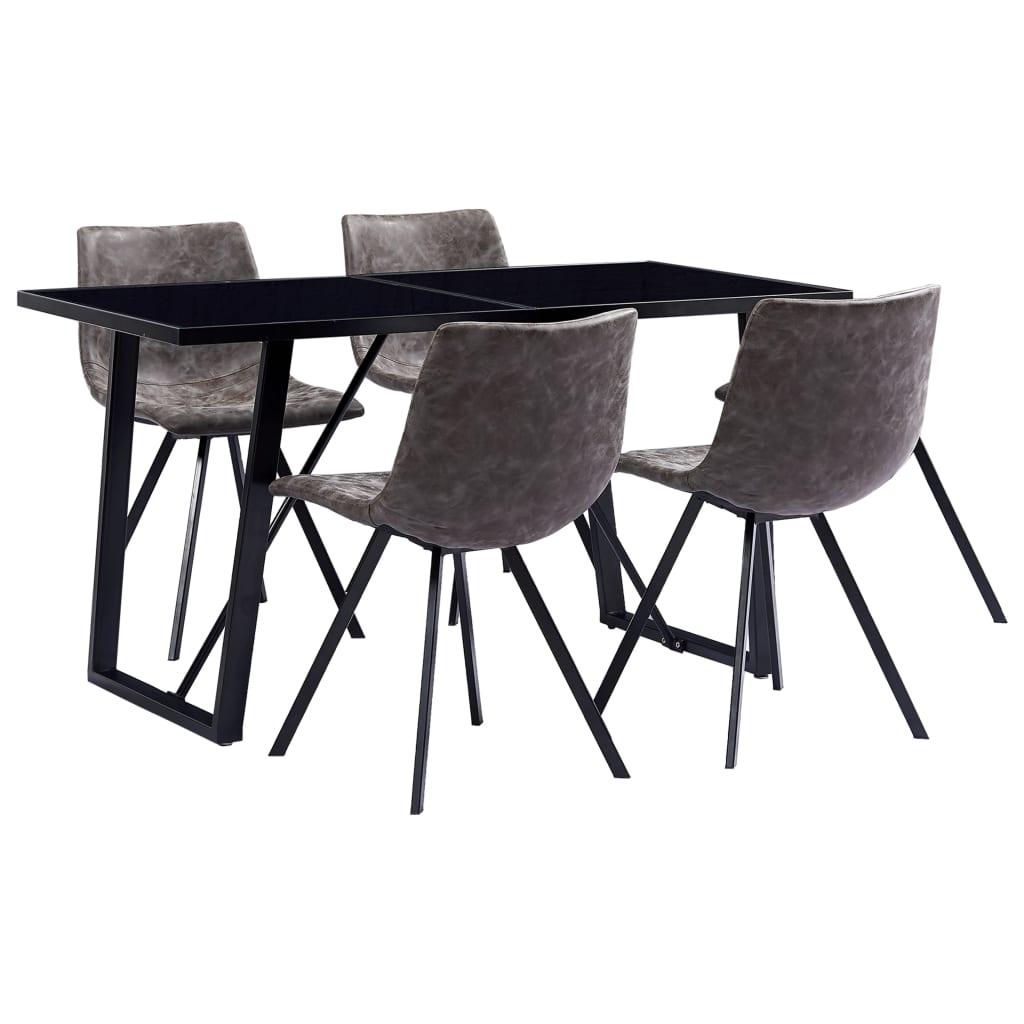 vidaXL Set mobilier de bucătărie, 5 piese, maro, piele ecologică poza vidaxl.ro
