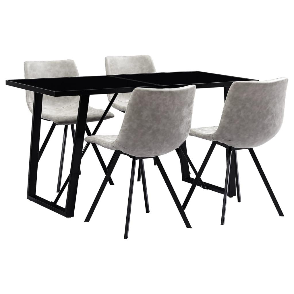 vidaXL Set mobilier bucătărie, 5 piese, gri deschis, piele ecologică poza vidaxl.ro