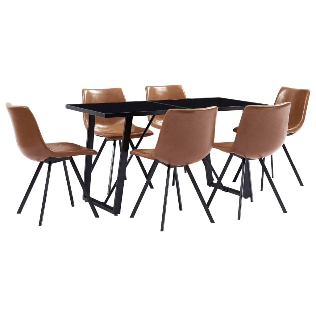 vidaXL Set mobilier de bucătărie, 7 piese, coniac, piele ecologică imagine vidaxl.ro