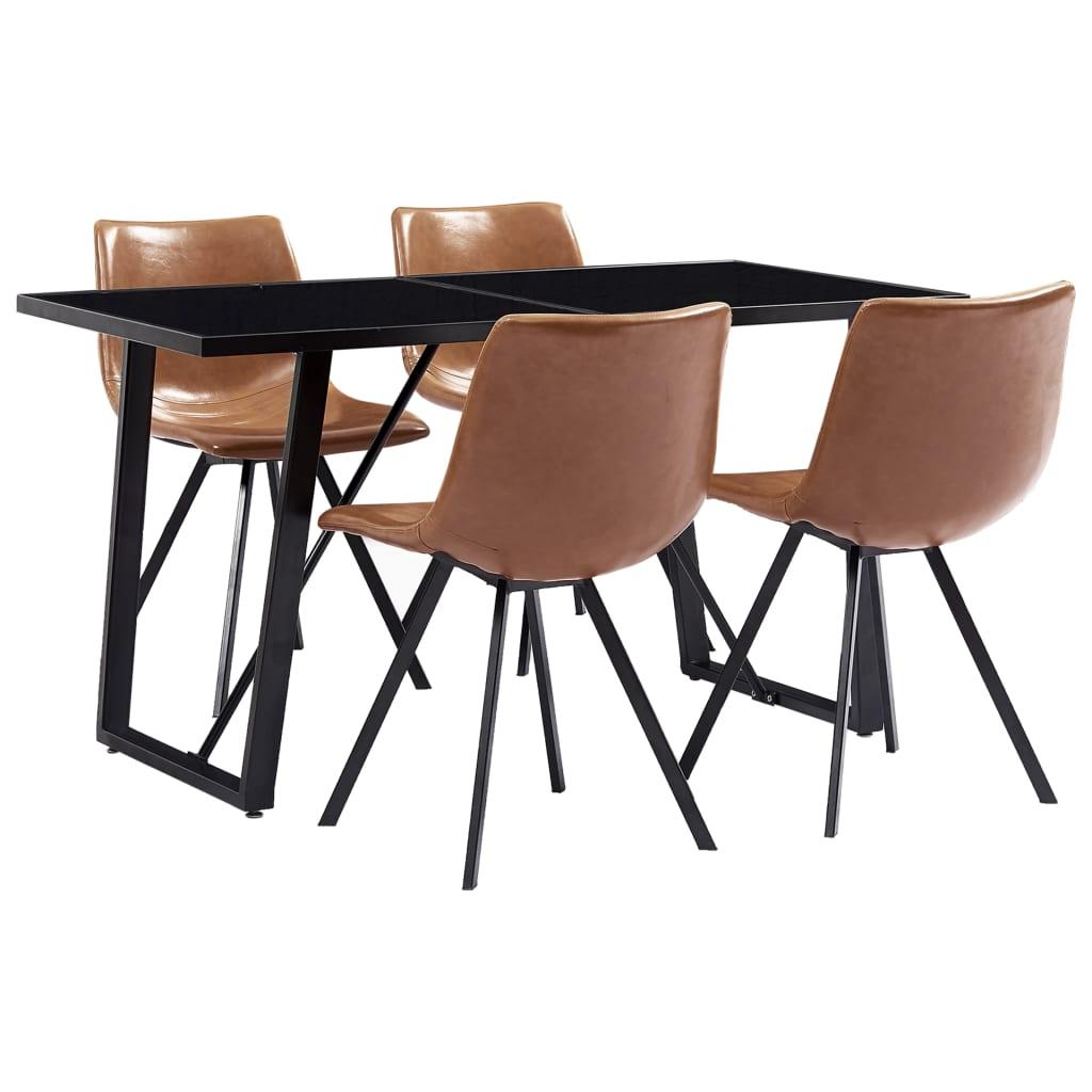 vidaXL Set mobilier de bucătărie, 5 piese, coniac, piele ecologică poza 2021 vidaXL