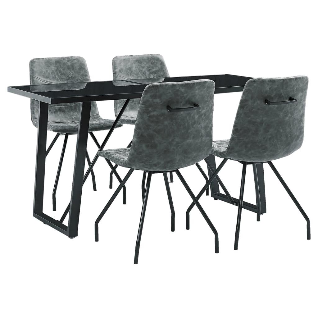vidaXL Set mobilier de bucătărie, 5 piese, negru, piele ecologică vidaxl.ro