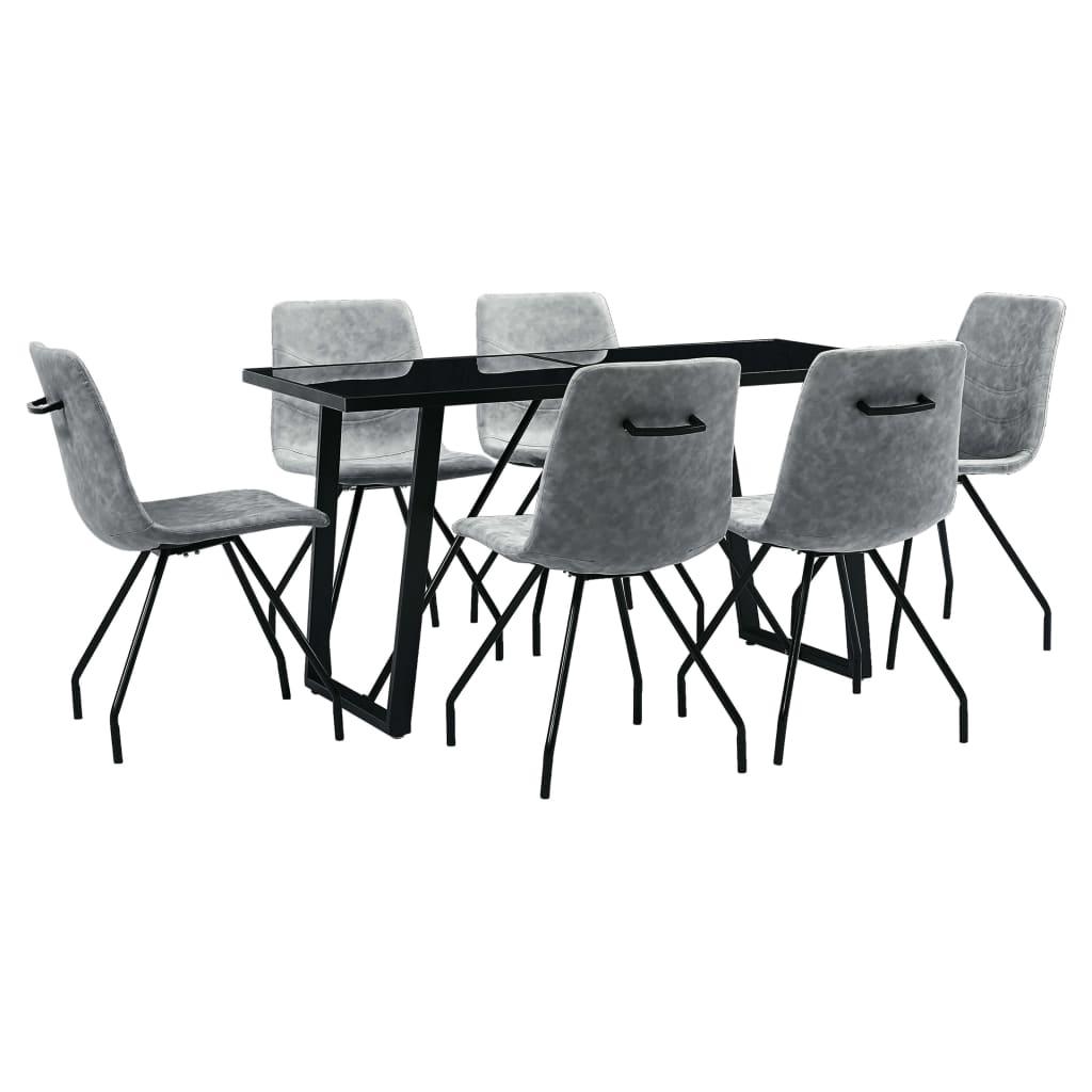 vidaXL Set mobilier de bucătărie, 7 piese, gri închis, piele ecologică poza vidaxl.ro