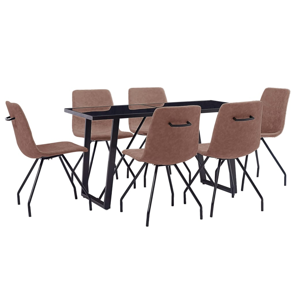 vidaXL Set mobilier de masă, 7 piese, maro, piele ecologică poza vidaxl.ro