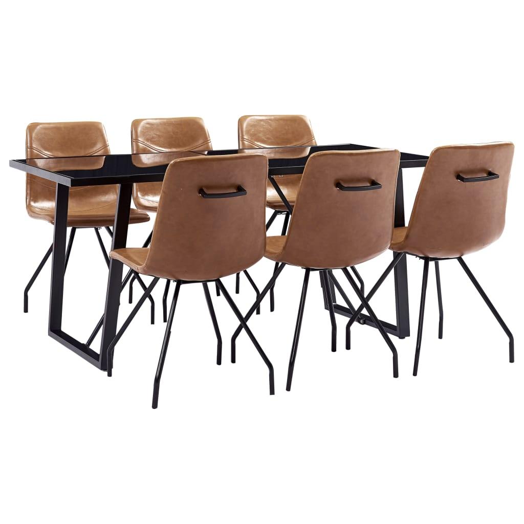 vidaXL Set mobilier de bucătărie, 7 piese, coniac, piele ecologică poza vidaxl.ro