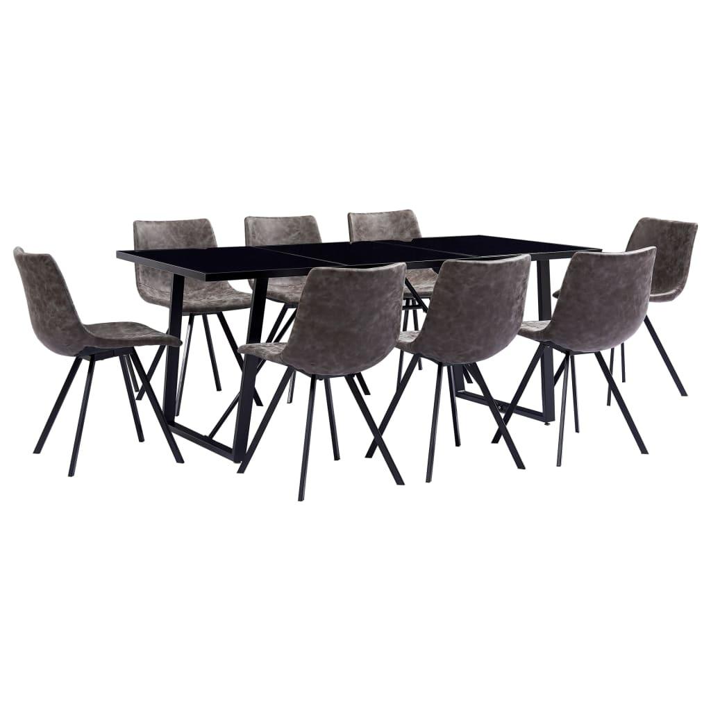 vidaXL Set de masă, 9 piese, maro, piele ecologică vidaxl.ro