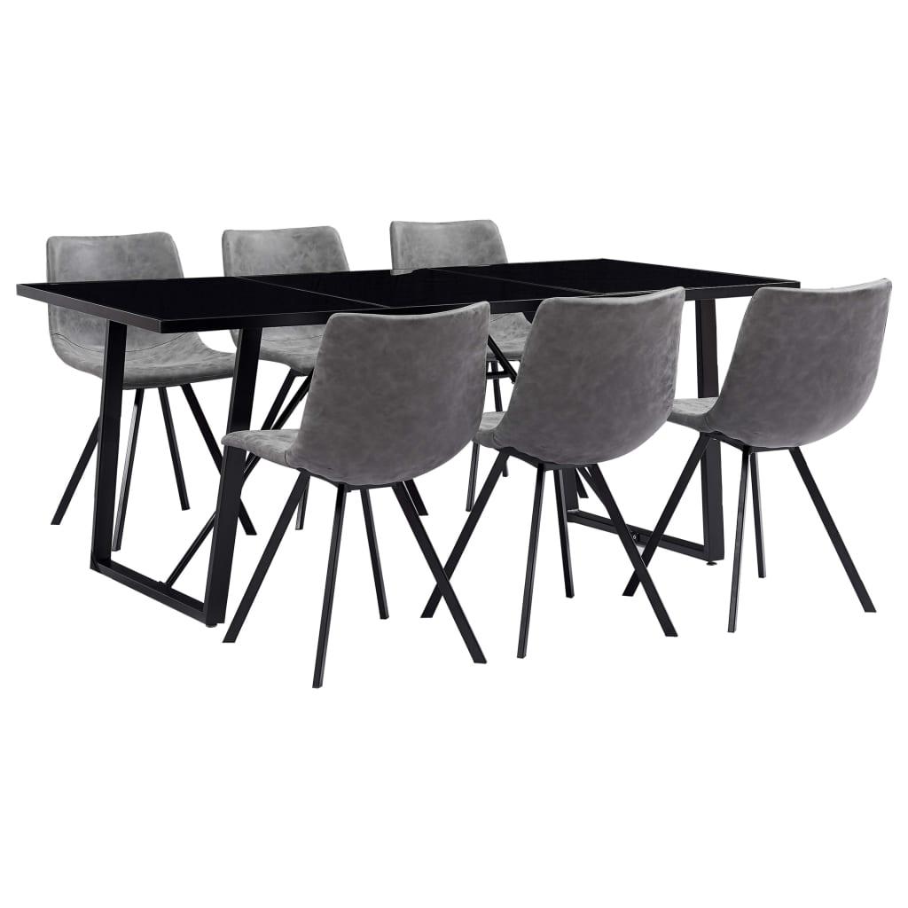 vidaXL Set de masă, 7 piese, gri, piele ecologică vidaxl.ro