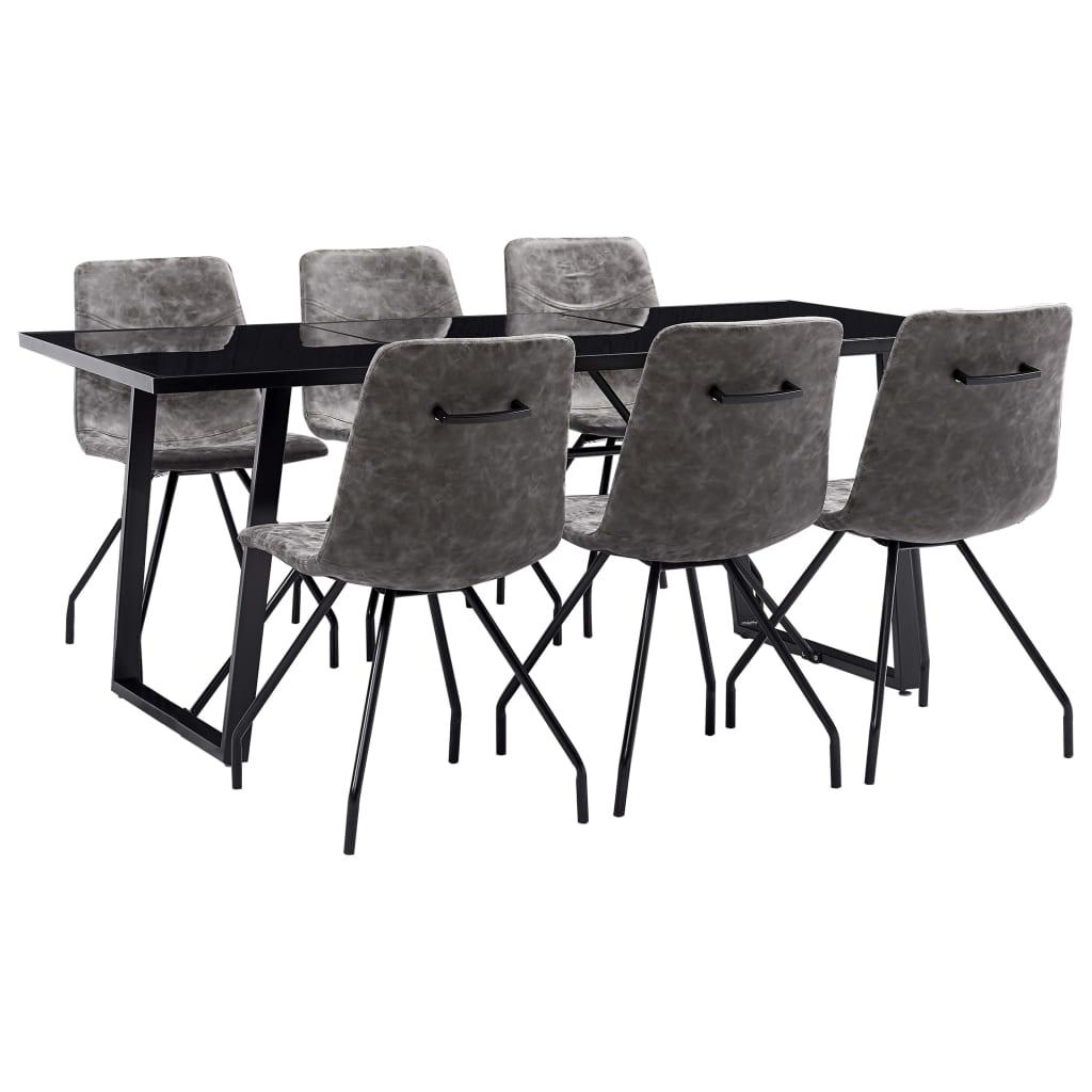 vidaXL Set mobilier bucătărie, 7 piese, maro închis, piele ecologică vidaxl.ro