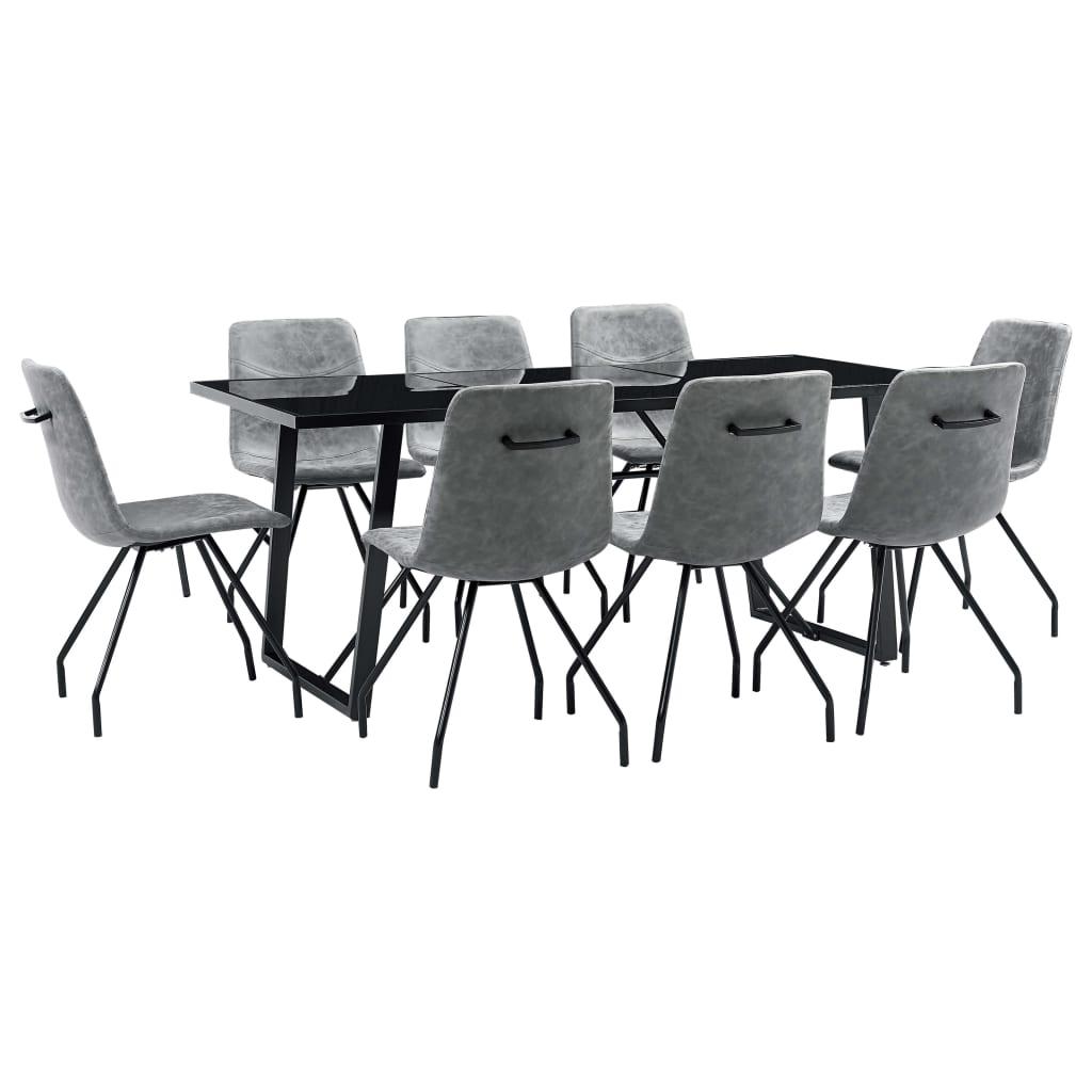 vidaXL Set mobilier de bucătărie, 9 piese, gri închis, piele ecologică vidaxl.ro