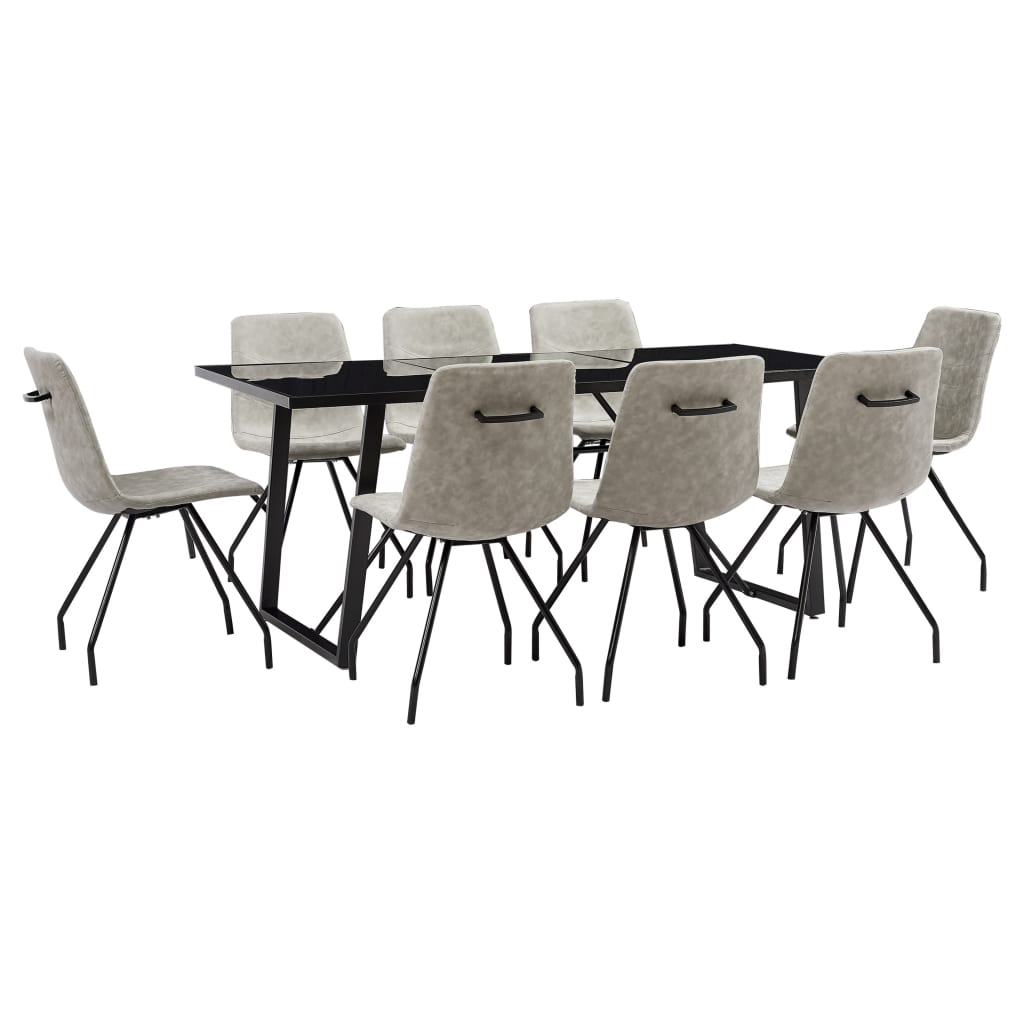 vidaXL Set mobilier de bucătărie, 9 piese, gri, piele ecologică vidaxl.ro