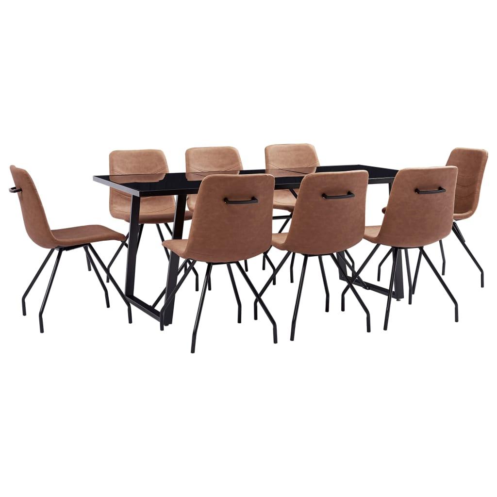 vidaXL Set mobilier de bucătărie, 9 piese, maro, piele ecologică imagine vidaxl.ro