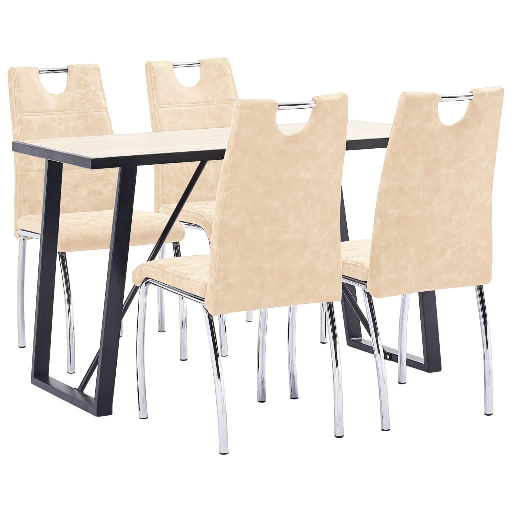 vidaXL Set mobilier bucătărie, 5 piese, crem, piele ecologică poza vidaxl.ro