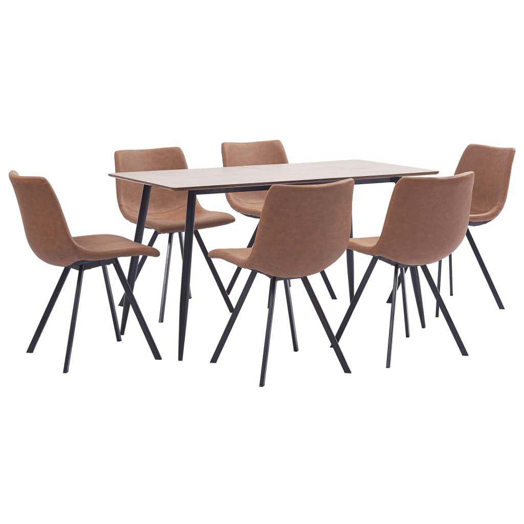 vidaXL Set de mobilier bucătărie, 7 piese, maro mediu, piele ecologică vidaxl.ro