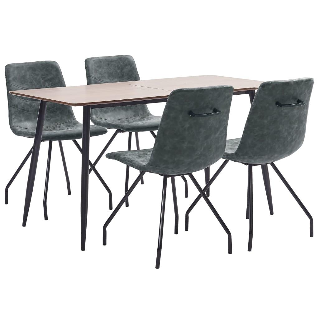 vidaXL Set de mobilier de bucătărie, 5 piese, negru, piele ecologică vidaxl.ro