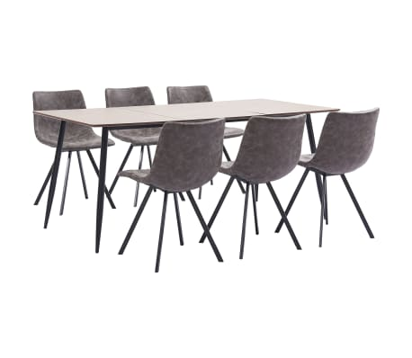 vidaXL 7 Piece Dining Set Brown Faux Leather