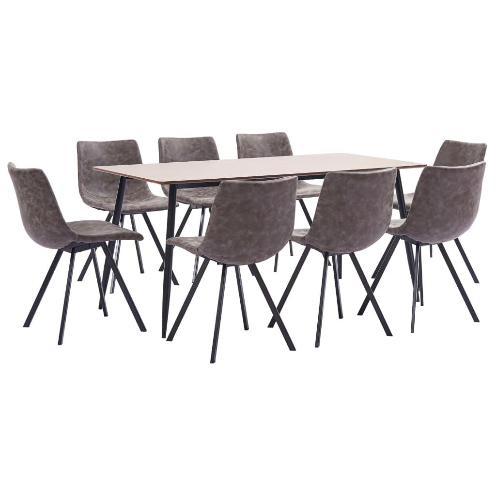 vidaXL Set de mobilier bucătărie, 9 piese, maro, piele ecologică poza vidaxl.ro