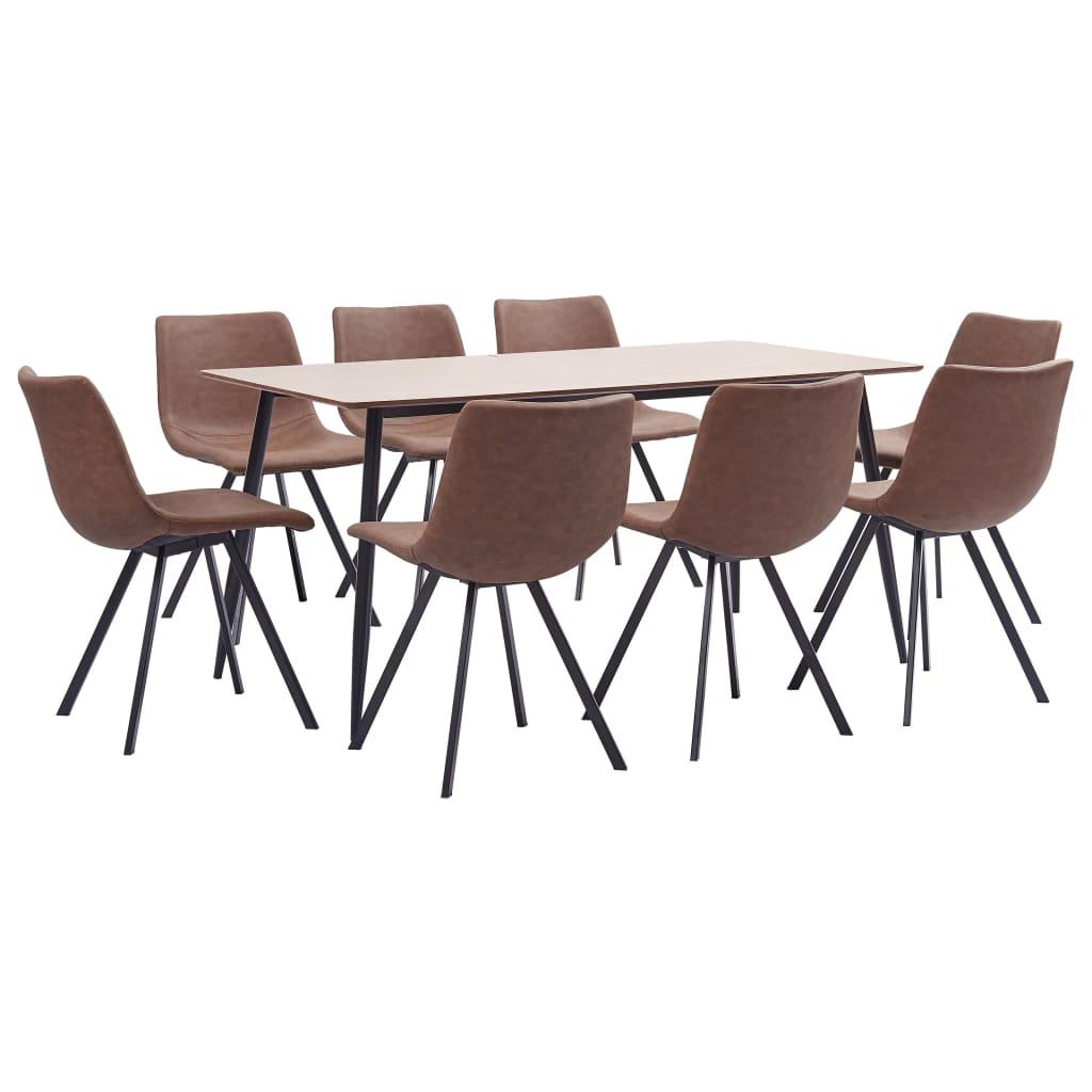 vidaXL Set de mobilier bucătărie, 9 piese, maro mediu, piele ecologică poza vidaxl.ro