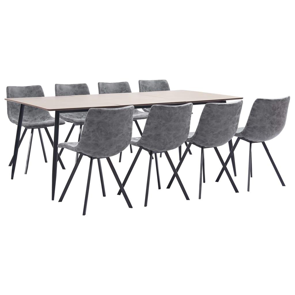 vidaXL Set mobilier de bucătărie, 9 piese, gri, piele ecologică poza 2021 vidaXL