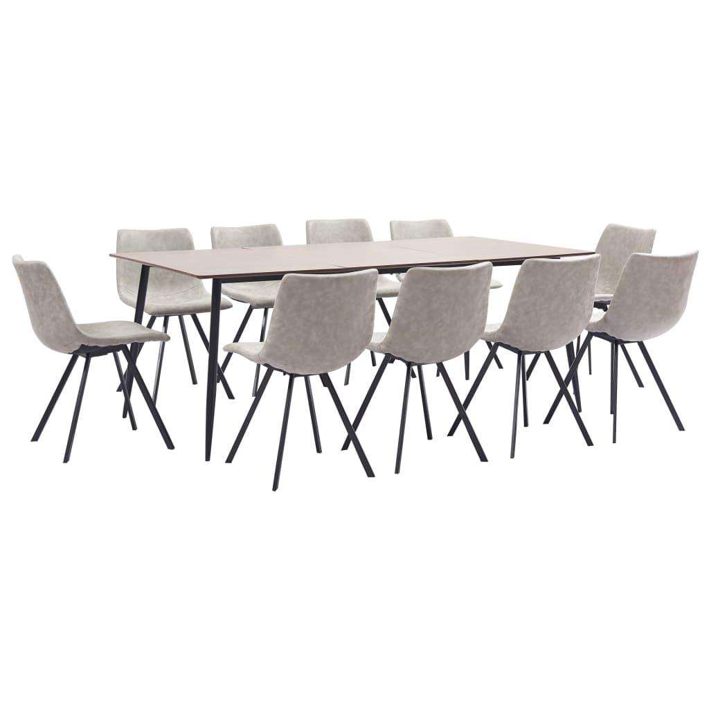 vidaXL Set mobilier bucătărie, 11 piese, gri deschis, piele ecologică vidaxl.ro