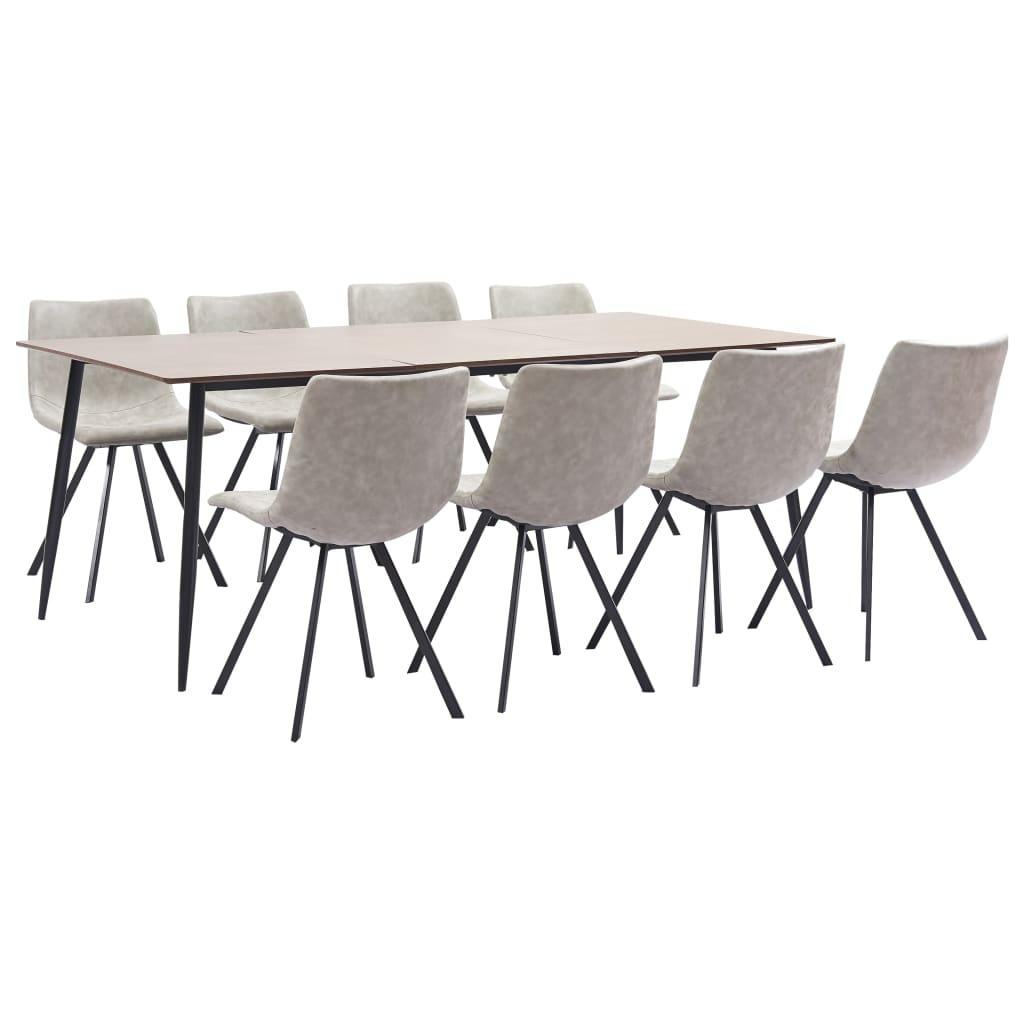 vidaXL Set mobilier bucătărie, 9 piese, gri deschis, piele ecologică imagine vidaxl.ro