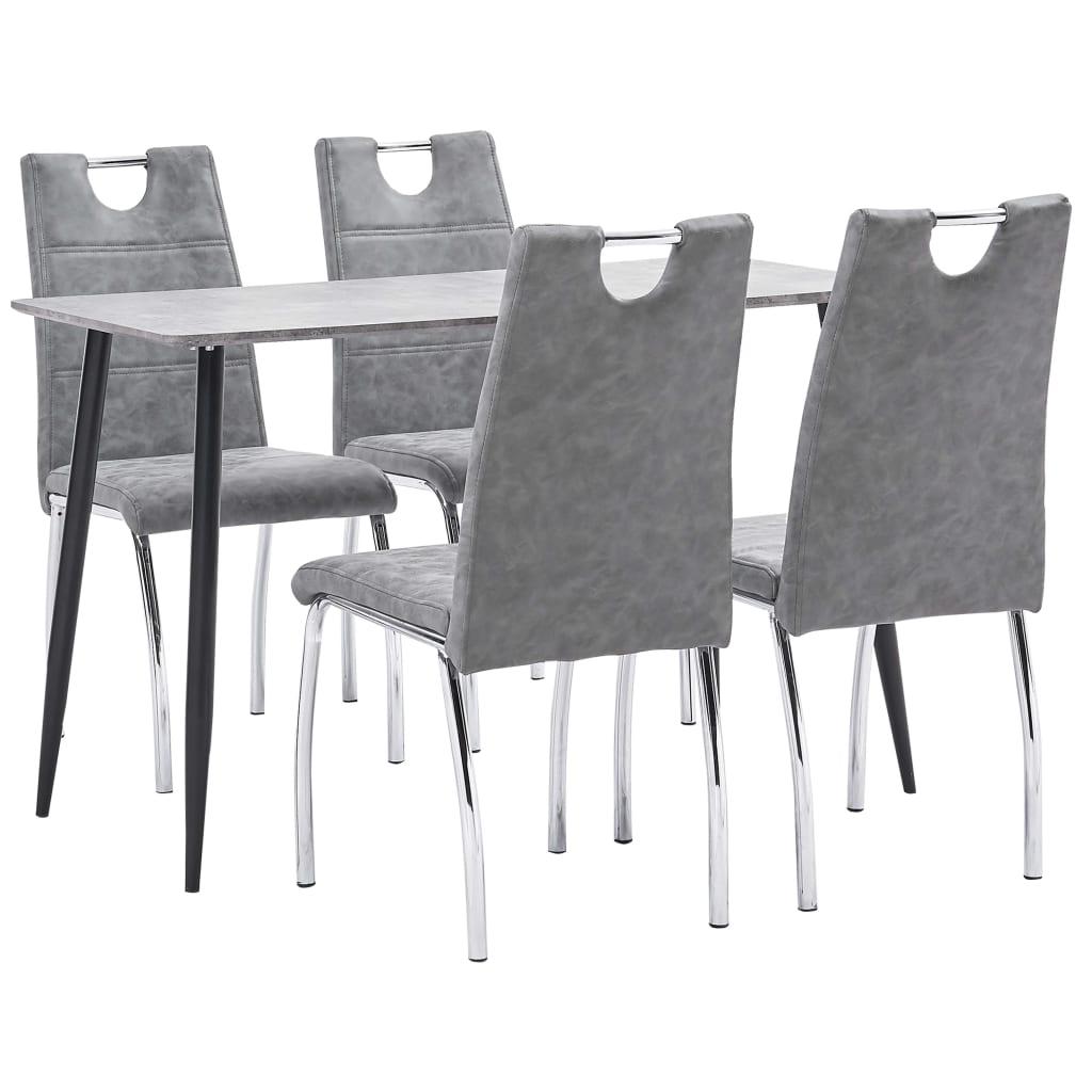 vidaXL Set mobilier de bucătărie, 5 piese, gri, piele ecologică imagine vidaxl.ro
