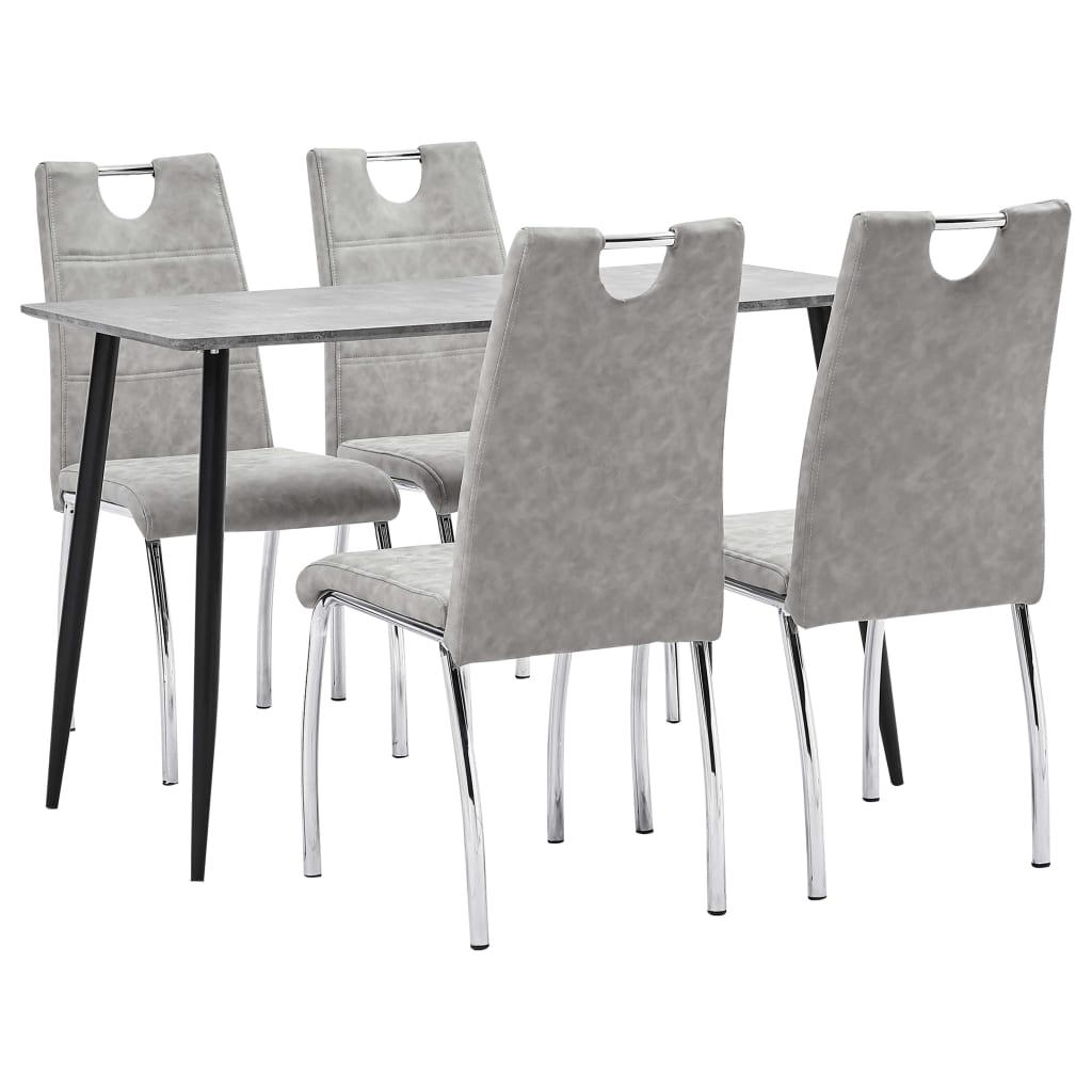 vidaXL Set mobilier bucătărie, 5 piese, gri deschis, piele ecologică poza 2021 vidaXL