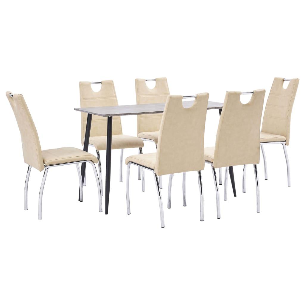vidaXL Set mobilier de bucătărie, 7 piese, crem, piele ecologică imagine vidaxl.ro