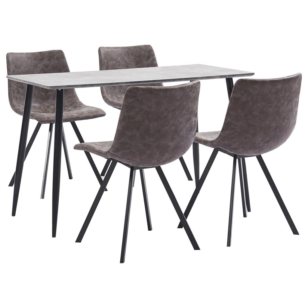 vidaXL Set mobilier de bucătărie, 5 piese, maro, piele ecologică imagine vidaxl.ro