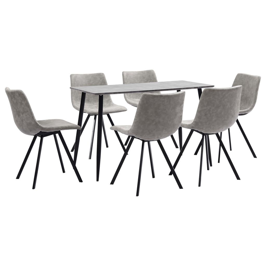 vidaXL Set mobilier bucătărie, 7 piese, gri deschis, piele ecologică poza vidaxl.ro