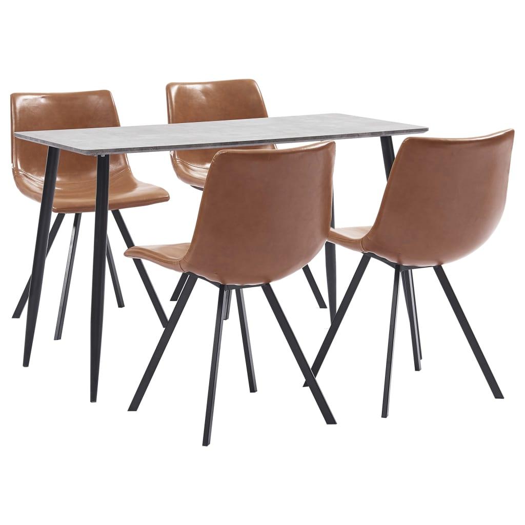 vidaXL Set mobilier bucătărie, 5 piese, coniac, piele ecologică poza 2021 vidaXL
