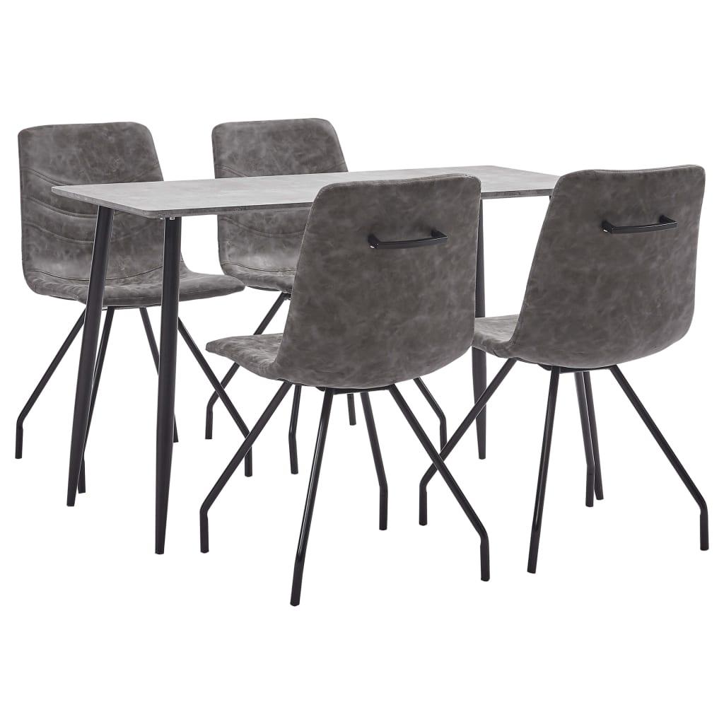 vidaXL Set mobilier bucătărie, 5 piese, maro închis, piele ecologică poza vidaxl.ro