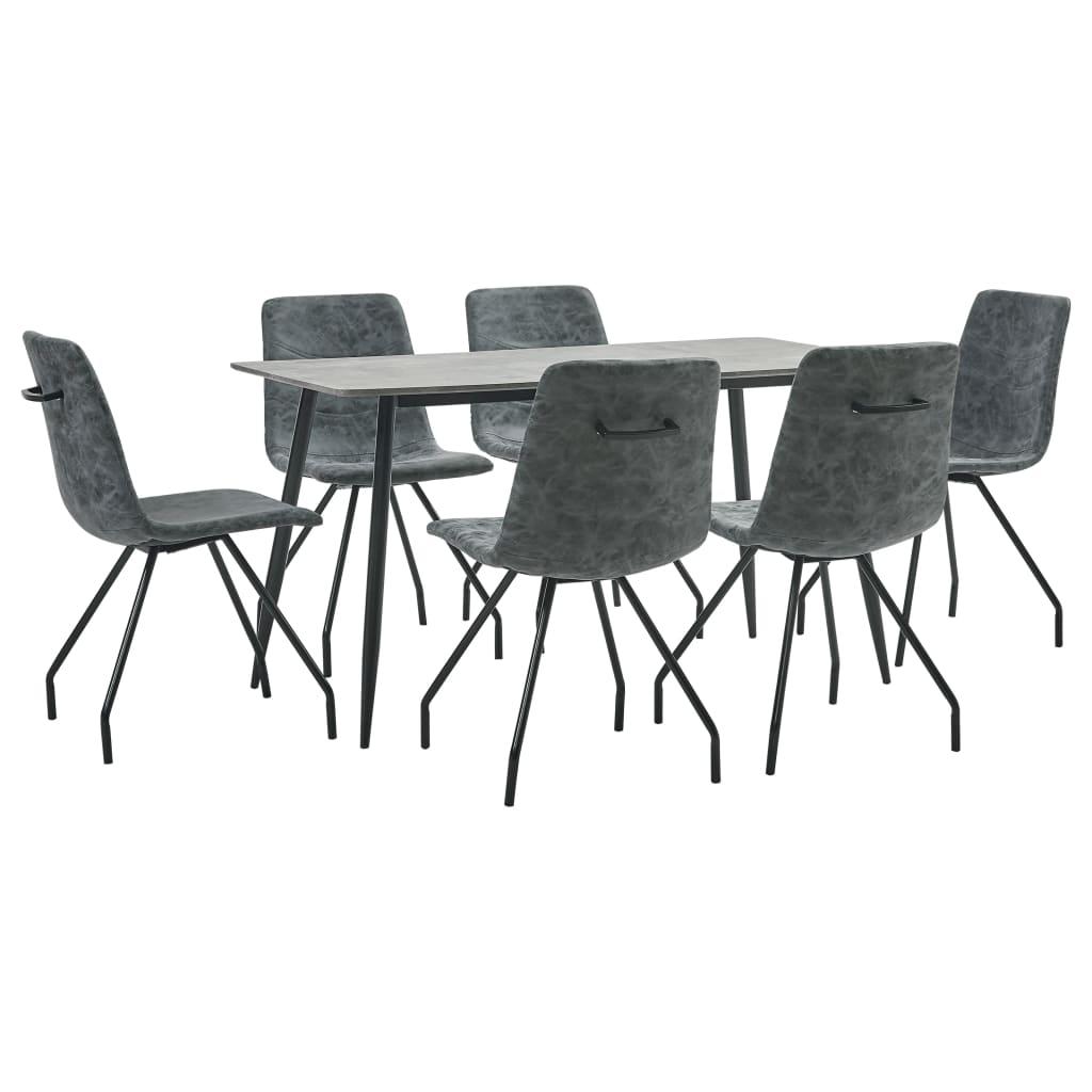vidaXL Set de mobilier de bucătărie, 7 piese, negru, piele ecologică imagine vidaxl.ro