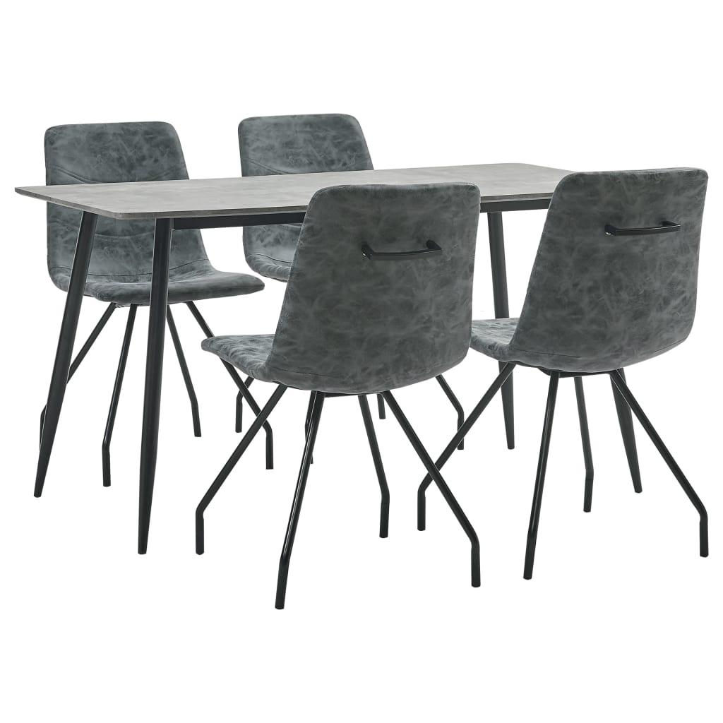 vidaXL Set de masă, 5 piese, negru, piele ecologică poza vidaxl.ro