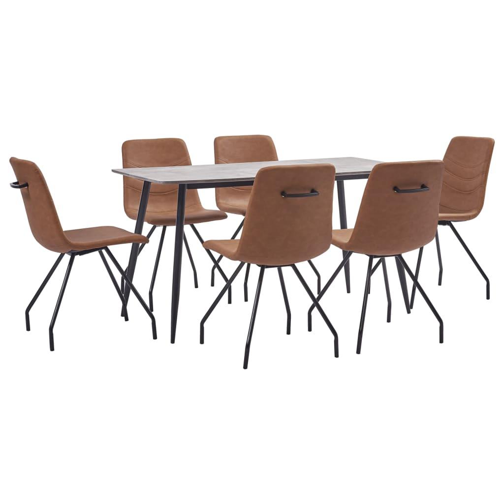 vidaXL Set de mobilier de bucătărie, 7 piese, maro, piele ecologică imagine vidaxl.ro