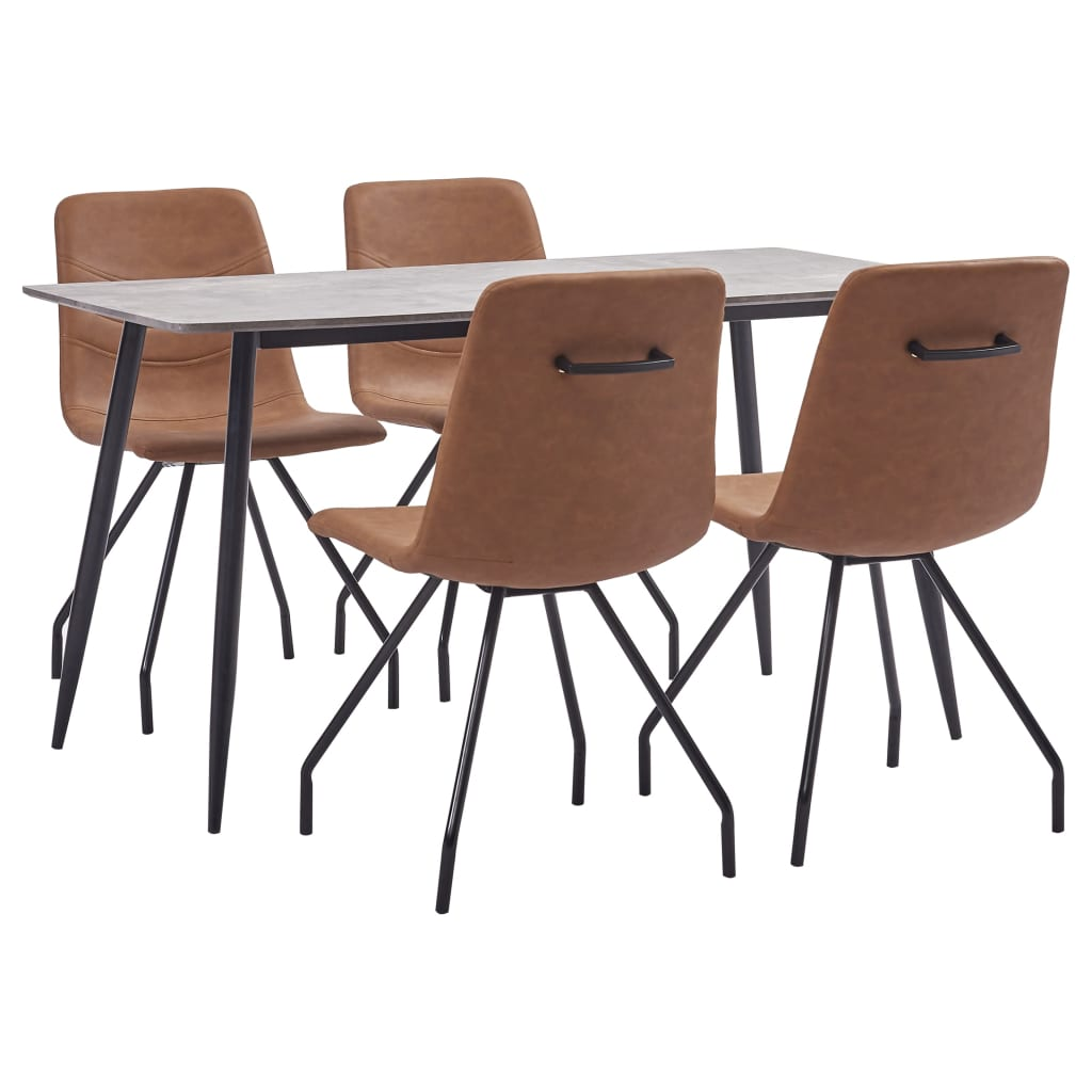 vidaXL Set de mobilier de bucătărie, 5 piese, maro, piele ecologică imagine vidaxl.ro