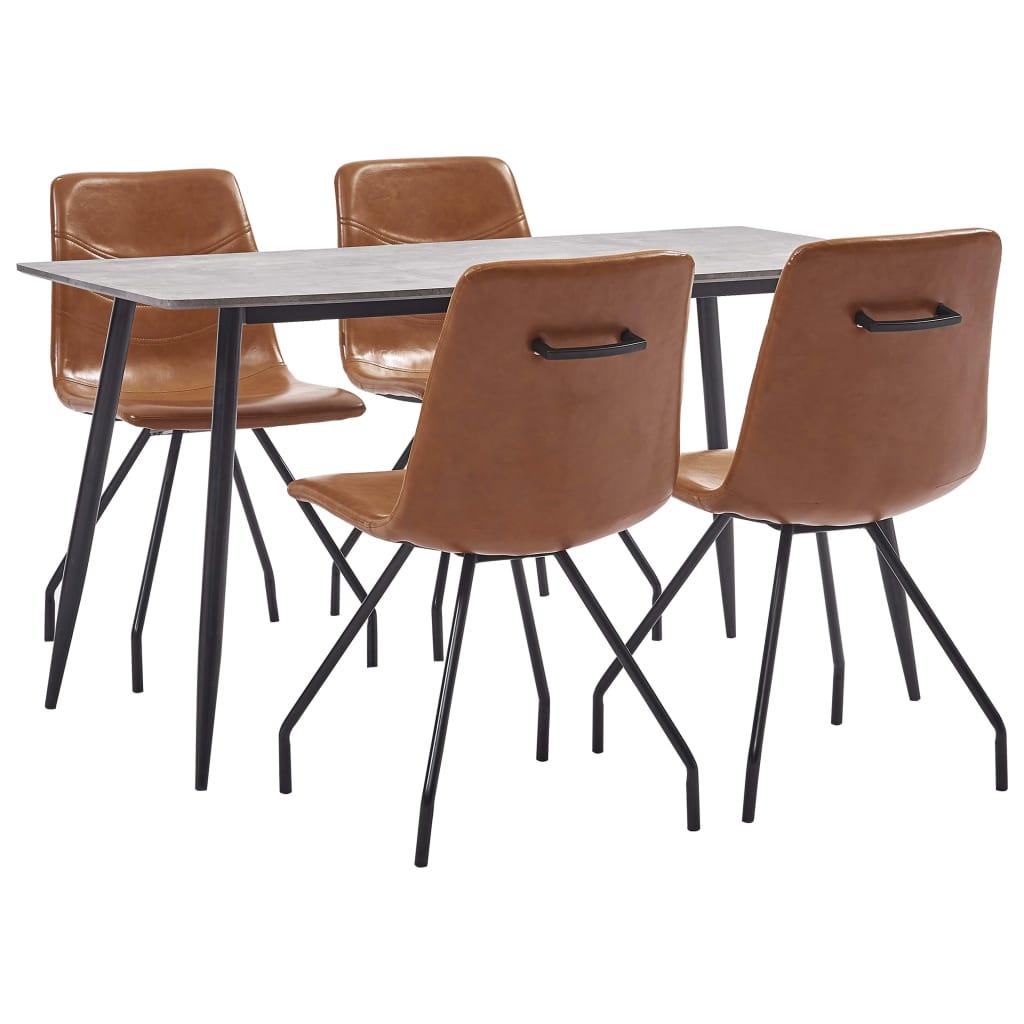 vidaXL Set de mobilier de bucătărie, 5 piese, coniac, piele ecologică poza vidaxl.ro