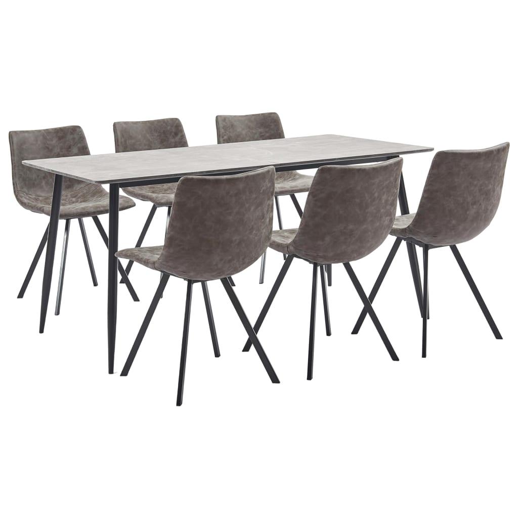 vidaXL Set mobilier bucătărie, 7 piese, maro, piele ecologică vidaxl.ro
