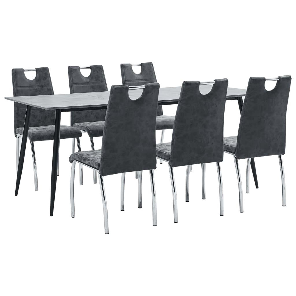 vidaXL Set mobilier de bucătărie, 7 piese, negru, piele ecologică poza 2021 vidaXL