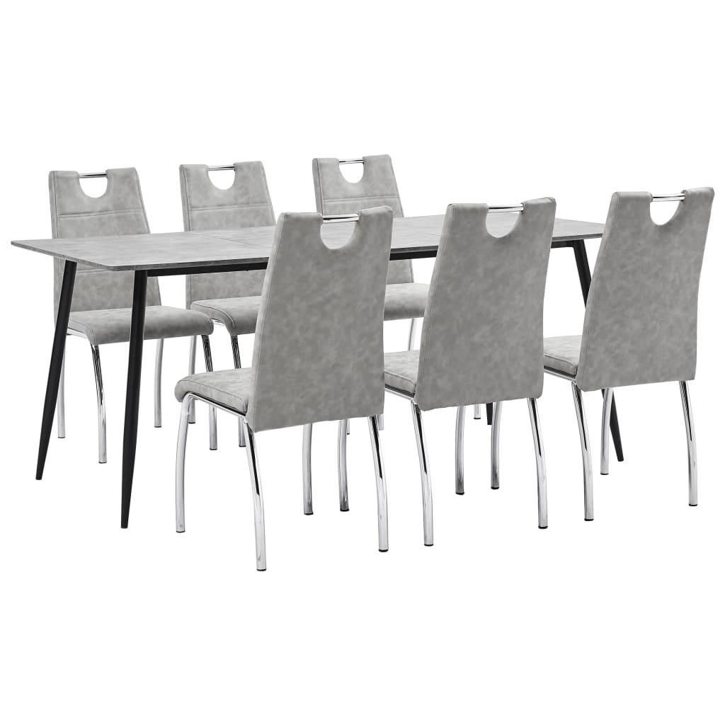 vidaXL Set mobilier de bucătărie, 7 piese, gri deschis, piele ecologică vidaxl.ro