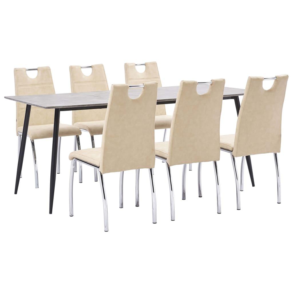 vidaXL Set mobilier de bucătărie, 7 piese, crem, piele ecologică poza vidaxl.ro
