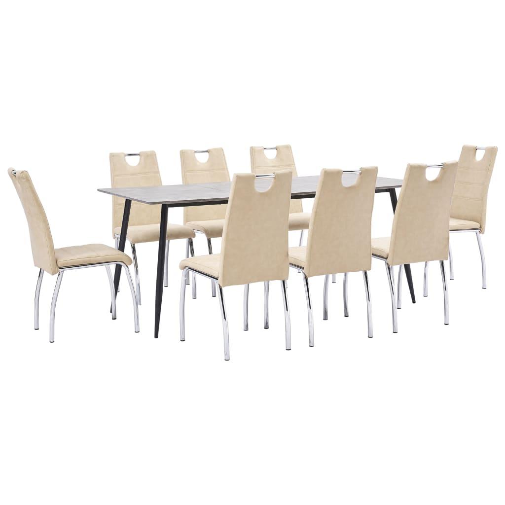 vidaXL Set mobilier de bucătărie, 9 piese, crem, piele ecologică vidaxl.ro