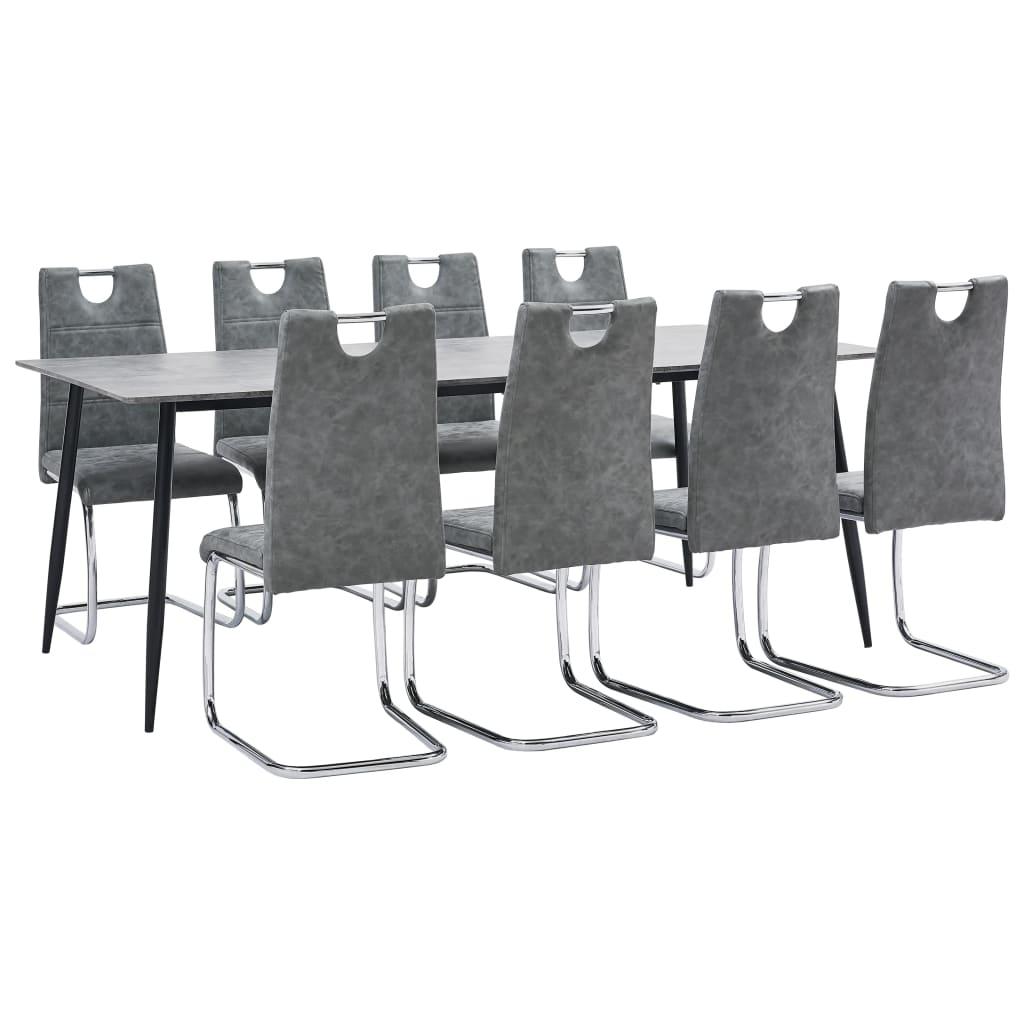 vidaXL Set mobilier de bucătărie, 9 piese, gri, piele ecologică poza vidaxl.ro