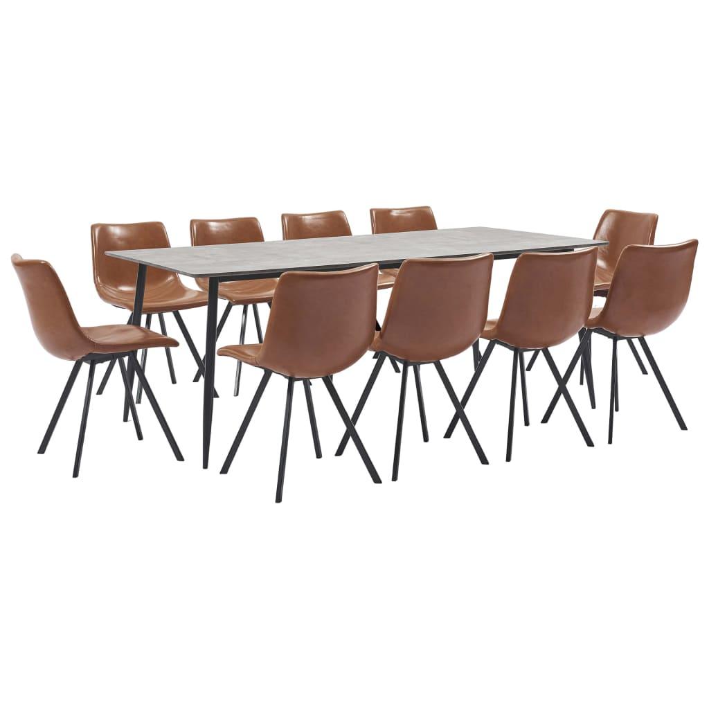 vidaXL Set mobilier de bucătărie, 11 piese, coniac, piele ecologică imagine vidaxl.ro