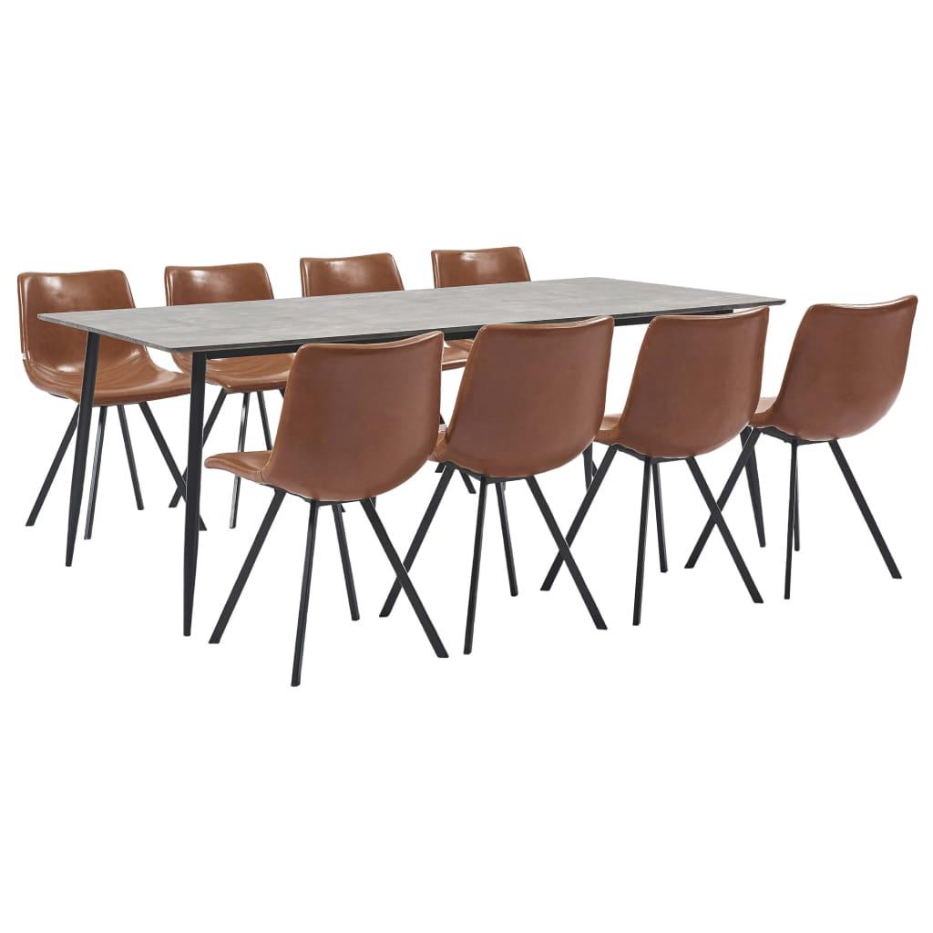 vidaXL Set mobilier de bucătărie, 9 piese, coniac, piele ecologică vidaxl.ro