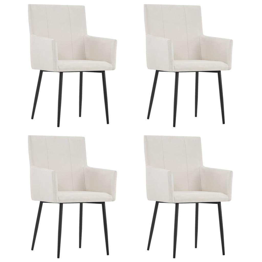 vidaXL Καρέκλες Τραπεζαρίας με Μπράτσα 4 τεμ. Κρεμ Υφασμάτινες